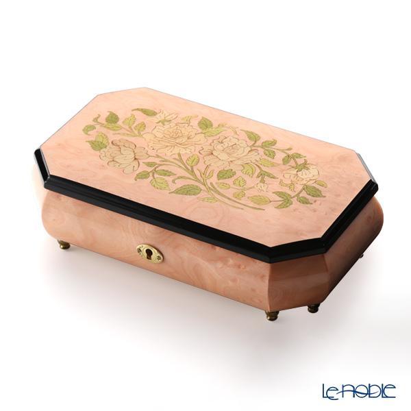 エルコラーノ イタリア象嵌オルゴール(花のワルツ) ローズ ライトピンク 鍵付