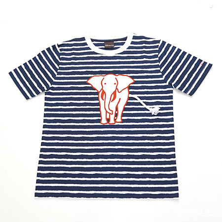 ジムトンプソン 子供服 Tシャツ M(8-11歳) ホワイトゾウ/ストライプ/ダーク・・・