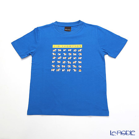 ジムトンプソン 子供服 Tシャツ S(4-7歳) ホワイトゾウ36/ブルー