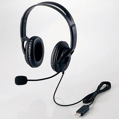 エレコム USBヘッドセットマイクロフォン/両耳オーバーヘッド/片出しケーブル・・・