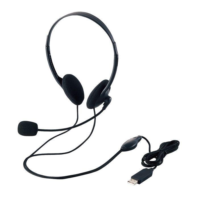 エレコム USBヘッドセットマイクロフォン/両耳オーバーヘッド/1.8m HS-HP27UB・・・