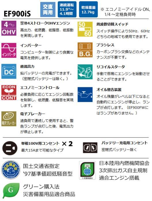 EF900IS) ヤマハ 発電機 EF900IS (発電機 インバーター) 商品画像4:ニッチ・リッチ・キャッチKaago店