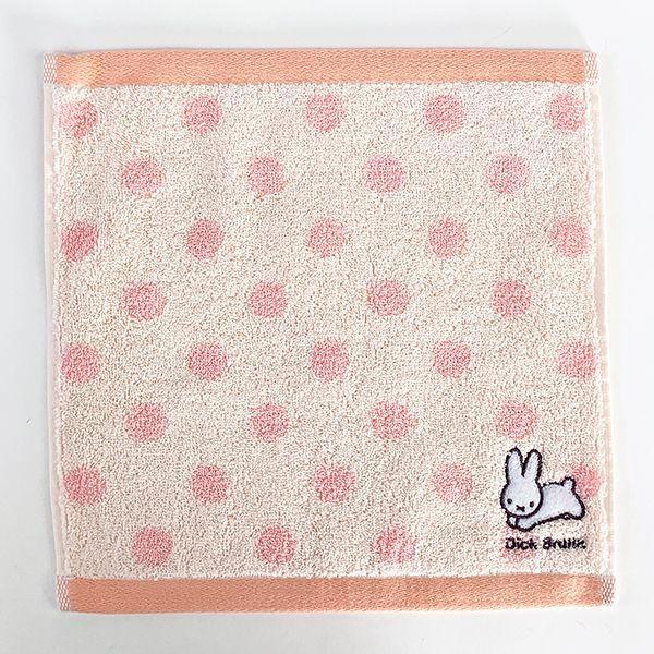 ミッフィー--ワンポイント刺繍-ハンカチ-PK-うさぎ-miffy-刺繍-ハンドタオル-ミニタオル-ワンポイント-コンパクト-タオル--PINK
