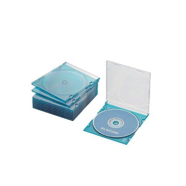 ELECOM CCD-JSCS10CBU クリアブルー [Blu-ray/DVD/CDケース 10枚セット(スリ・・・
