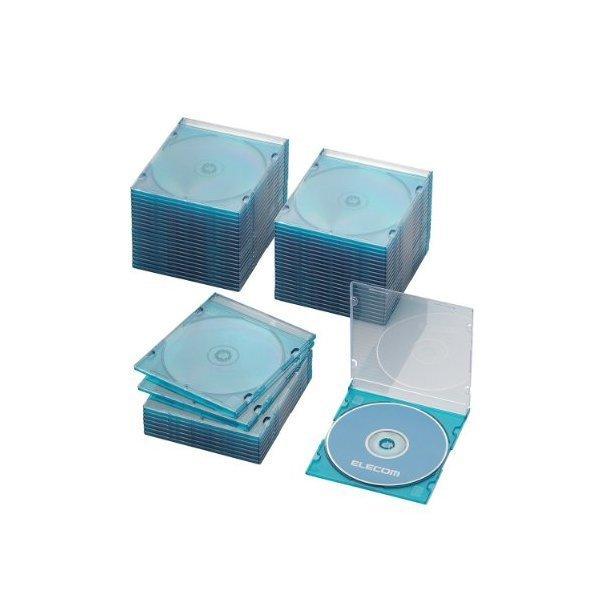 ELECOM CCD-JSCS50CBU クリアブルー [Blu-ray/DVD/CDケース 50枚セット(スリ・・・