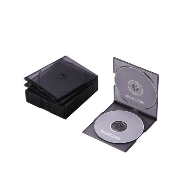 ELECOM CCD-JSCSW10CBK クリアブラック [Blu-ray/DVD/CDケース 10枚セット(ス・・・