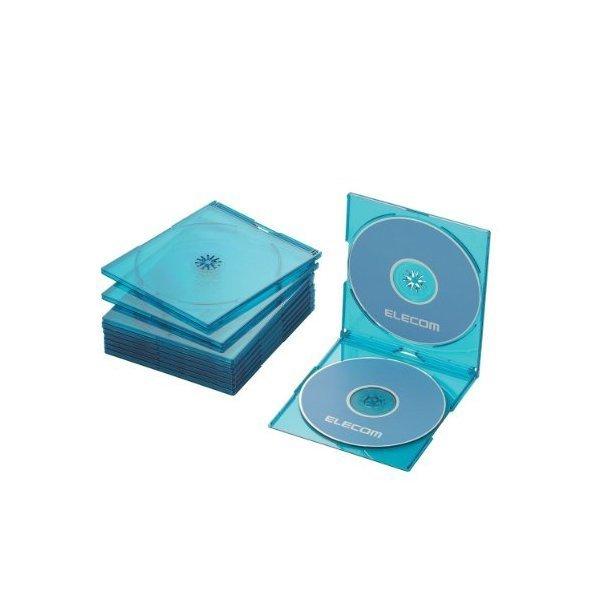 ELECOM CCD-JSCSW10CBU クリアブルー [Blu-ray/DVD/CDケース 10枚セット(スリ・・・