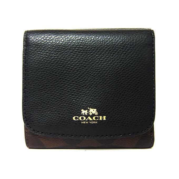 コーチ COACH 財布 F53837 シグネチャー PVC スモール ウォレット(小銭入れ有り) IMAA8(ブラウン×ブラック) f53837-imaa8 商品画像1:SanAlpha(サンアルファ)
