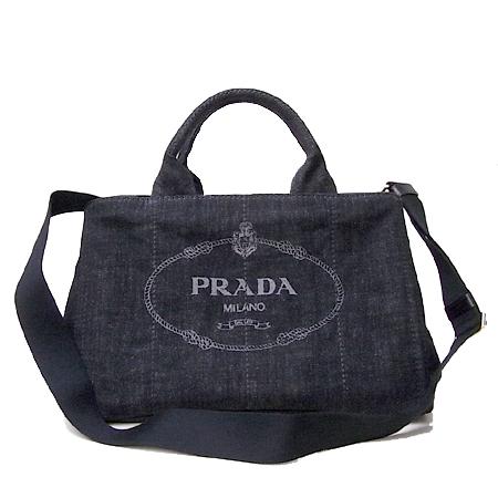 プラダ PRADA トートバッグ B2642B ロゴ デニム 2WAYトート DENIM / NERO b2・・・