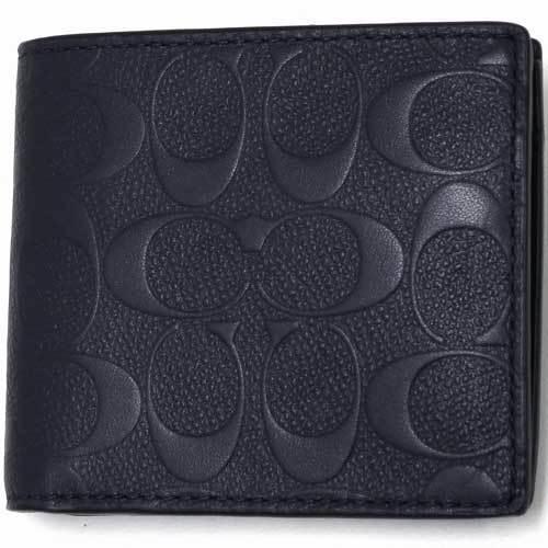 COACH コーチ デボスド シグネチャー クロスグレーン レザー コイン ウォレット / 二つ折り財布  F75363 BHP 商品画像1:セレクトAG