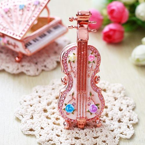 【ジュエリーボックス】バイオリン ローズピンク ジュエリーボックス EX5661