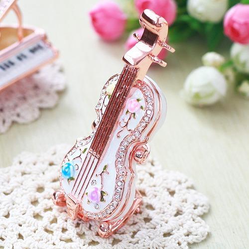 【ジュエリーボックス】バイオリン ホワイト ジュエリーボックス EX5662