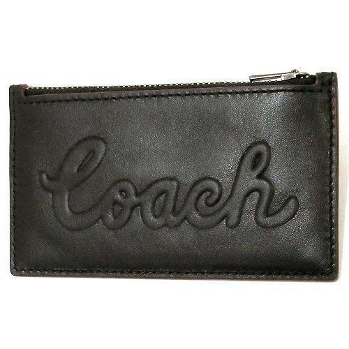 コーチ コインケース COACH  Coach スクリプト レザー メンズ スリム ジップ ・・・