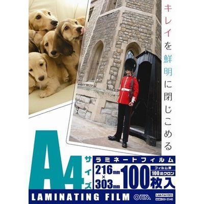 オーム電機 100ミクロン ラミフィルム A4 LAM-FA41003 100枚入 4971275055407