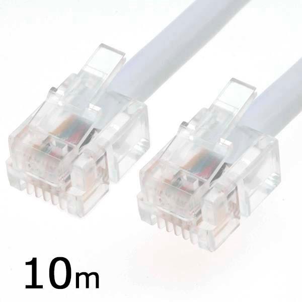オーム電機 ツイスト+シールド モジュラーケーブル(10m) TEL-C1508