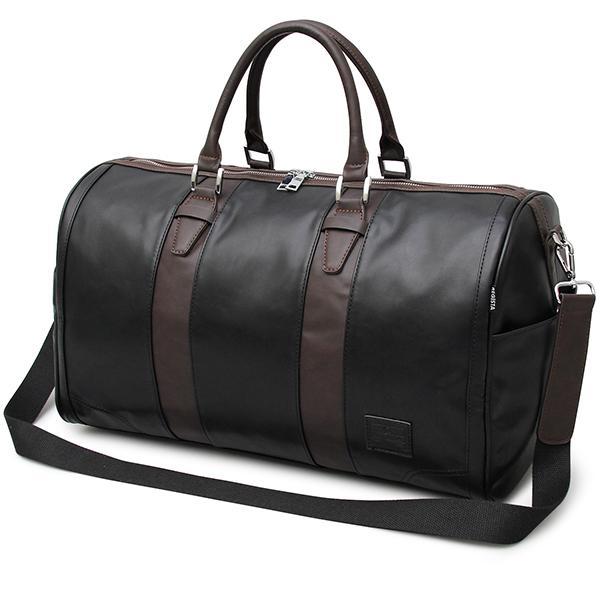 配色デザインでリッチ感が魅力の本革風ボストンバッグ ブラック フリー 596-W・・・