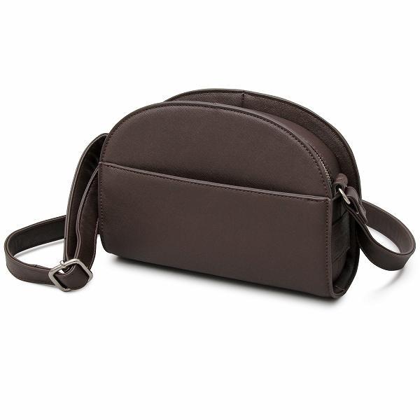トレンド感のあるハーフムーンバッグを大人な素材感で表現 ダークブラウン フ・・・