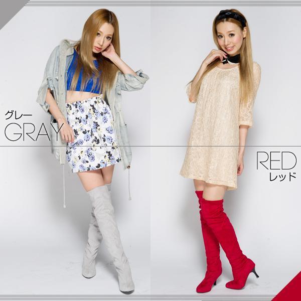 靴下のようなロングニーハイブーツ全8色★al-3840靴/美脚/レディース 色:レッ・・・