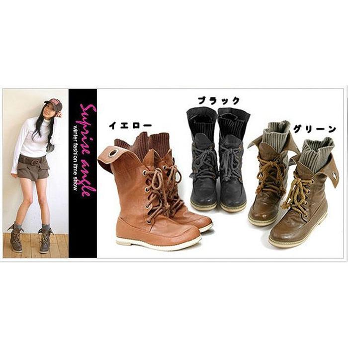 ニットinショートブーツ☆全3色♪!★al-1427靴/美脚/レディース 色:イエロー ・・・