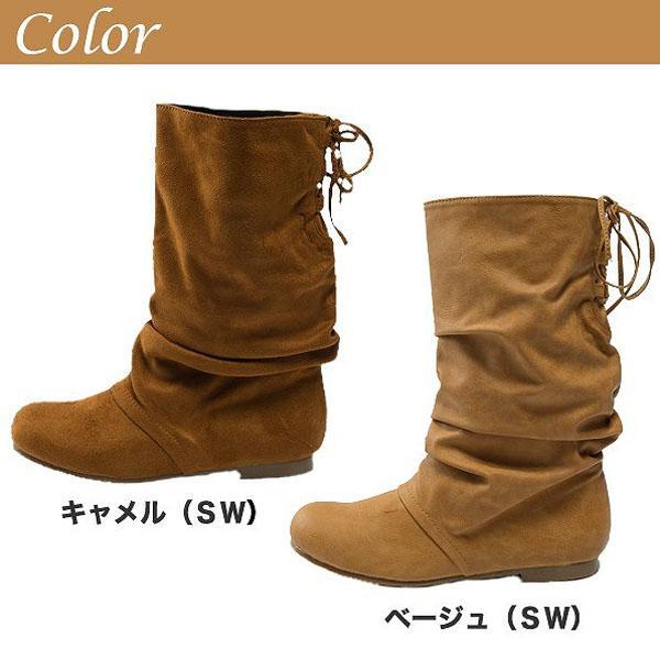 バックレースアップブーツ全12色★al-3860a靴/美脚/レディース 色:スエードキ・・・