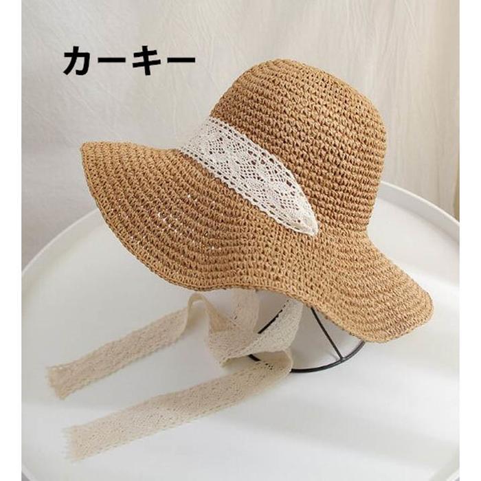 夏 レディース 麦わら帽子 つば広 UVカット レース あご紐付き リボン おしゃ・・・