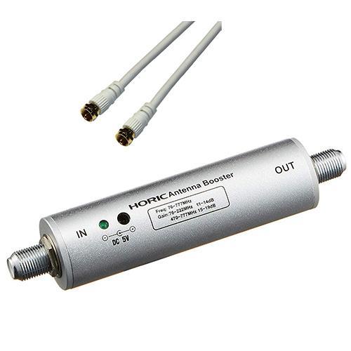 ホーリック アンテナブースター 室内・地デジ(UHF/VHF)専用 中継タイプ + ア・・・