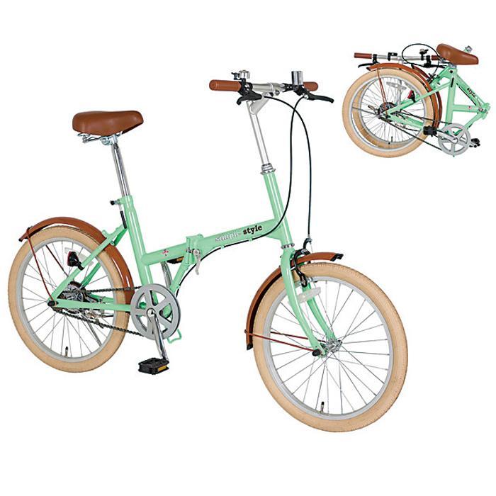 20インチ折り畳み自転車1台(ミントグリーン) 2214913