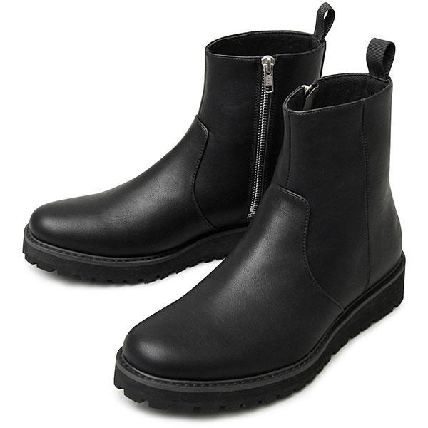 存在感のあるタンクソールを合わせたサイドジップブーツ ブラック S(25.0cm-2・・・