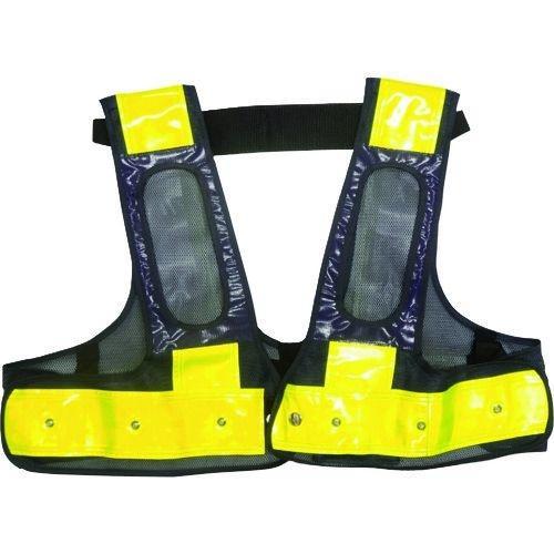 トラスコ中山 ミズケイ フルハーネス用LED安全ベスト/赤LED「装着できるんです」<紺/黄> tr-1717265